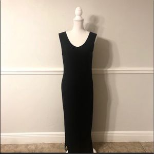 Ralph Lauren black ribbed maxi dress.